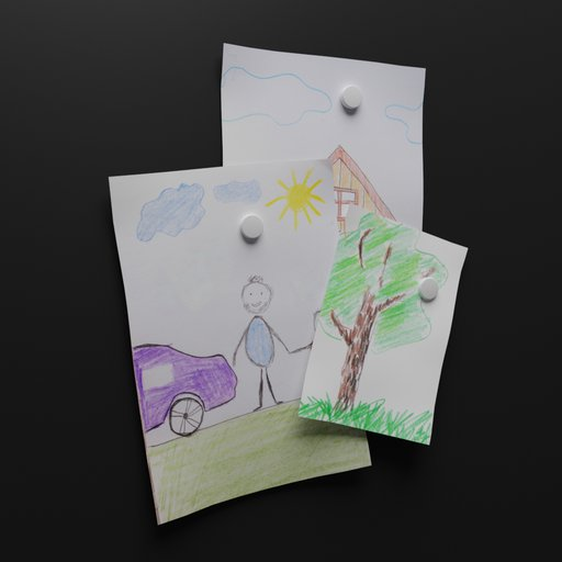 Thumbnail: Children's drawing on refrigerator