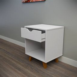 Thumbnail: White bedside table with 1 drawer and empty space
