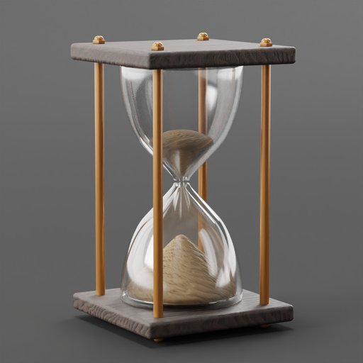 Thumbnail: Brass Rod Wood Frame Hour Glass