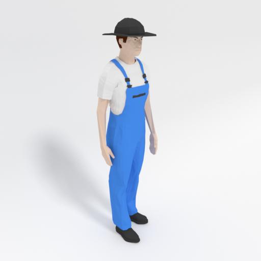 Low Poly Farmer Man