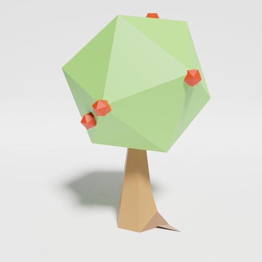 Thumbnail: Low Poly Apple Tree Singlecolor