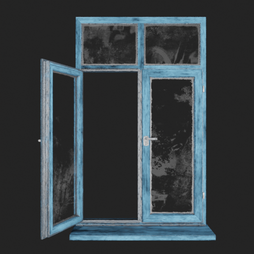 Blue painted Wooden window