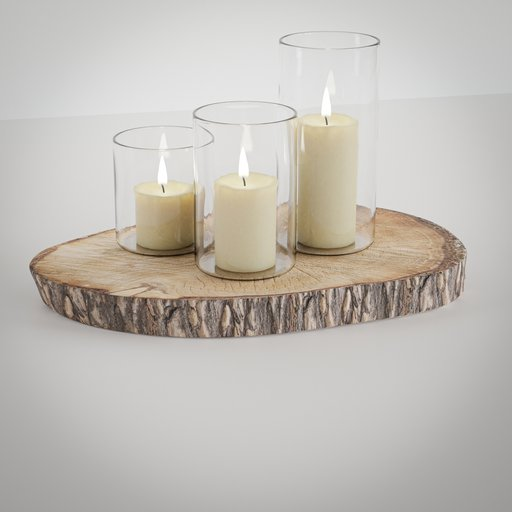 Thumbnail: Wooden tree disc with candles deco element