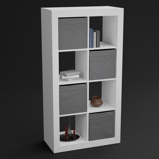 IKEA like shelf with boxes and decoration