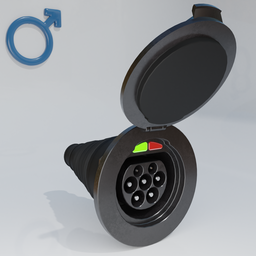 Thumbnail: Electric motor vehicle charging socket, male with cover.