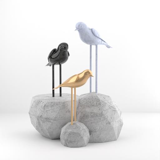 Marble Brass Bird Decoration
