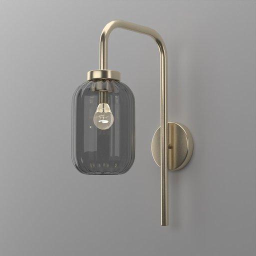 Thumbnail: Wavey Dark Glass Wall Lamp