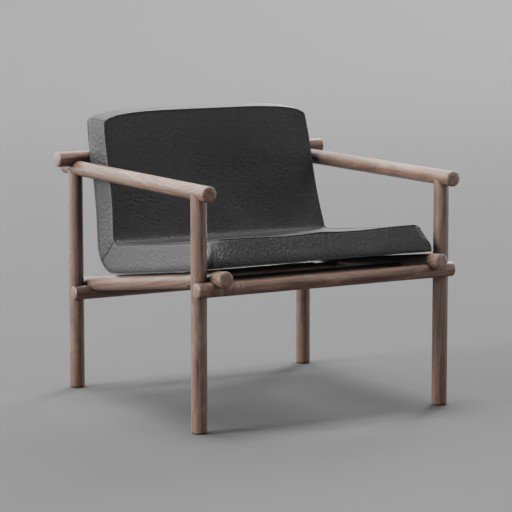 Thumbnail: Black Leather Small chair