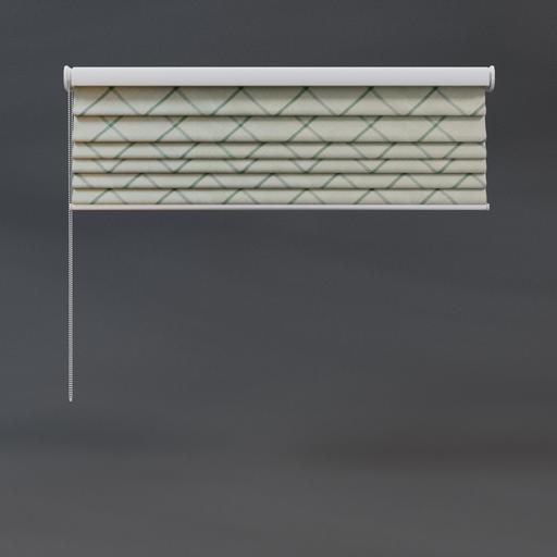 Roman blinds 03 quarter green checkered