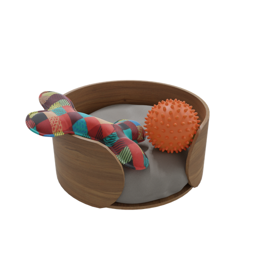 Dog bed with toys