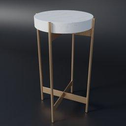Thumbnail: Small Marble Pedestal Table