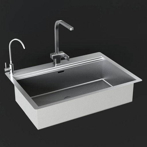Sink with double faucet