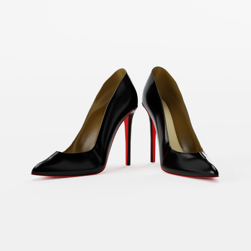 Black High Heels with red sole