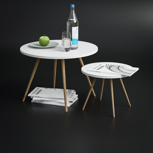 Thumbnail: Sofa side table set with decoration