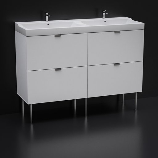 Bathroom double cabinet with drawer