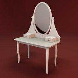 Thumbnail: Boudoir white round mirror