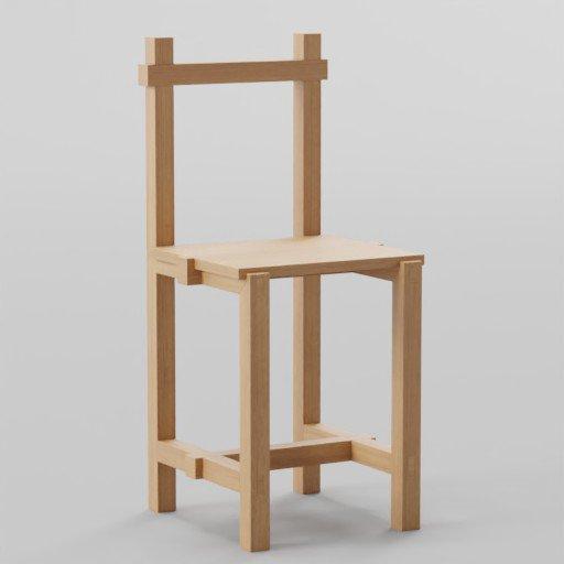 Thumbnail: Handmade Wooden Chair  40x40x90