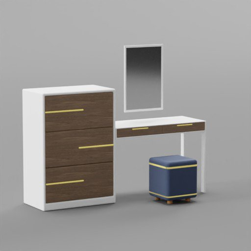 Thumbnail: Minimalist Dressing Make Up Table With Ottoman
