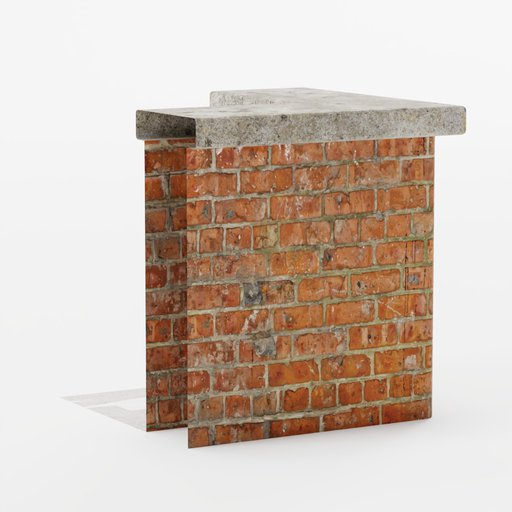 Brick wall roof end corner 1x1x1