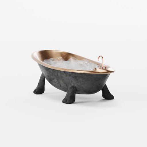 Thumbnail: Designer bronze bathroom in retro style