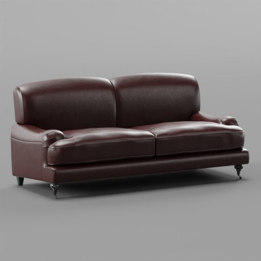 Thumbnail: Wine Red Leather Sofa