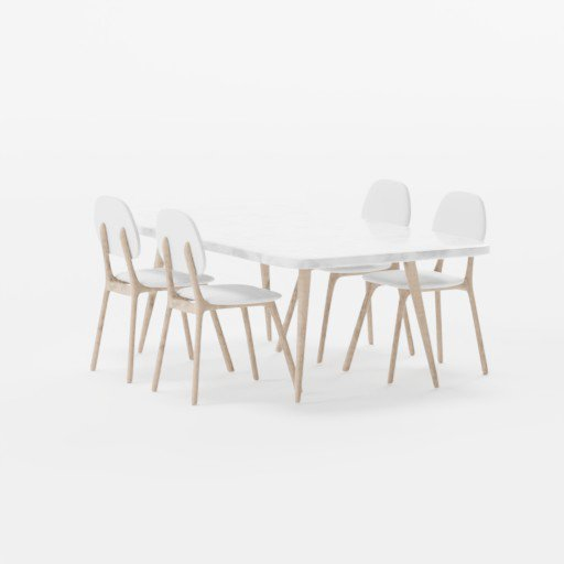 Scandinavian Marble Wooden Table Grey Fabric Chairs