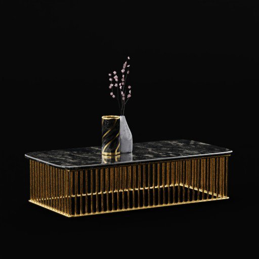 Brass Gold Marble Coffee Table With plum flower stick