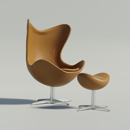Thumbnail: Egg Chair with footstool