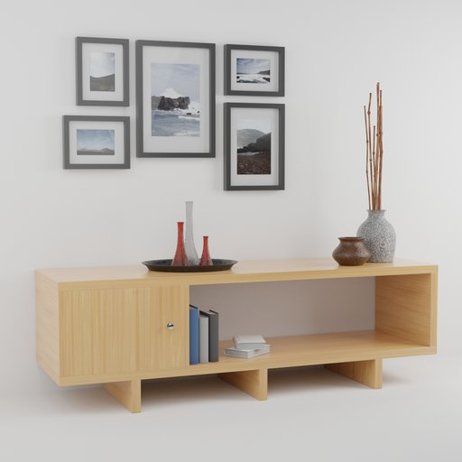Thumbnail: Living room shelf with decoration and pictures