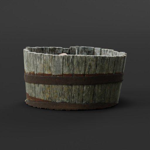 Thumbnail: Photoscanned Old Wooden Barrel Planter
