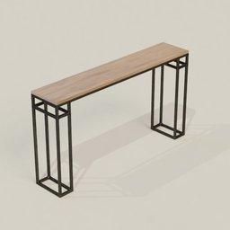Thumbnail: Wooden Table Bar Steel Leg