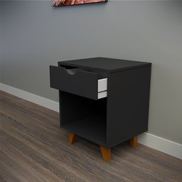 Thumbnail: Black bedside table with 1 drawer and empty space