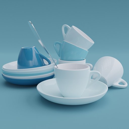 Thumbnail: Cup & Saucer Set Small Colored 1
