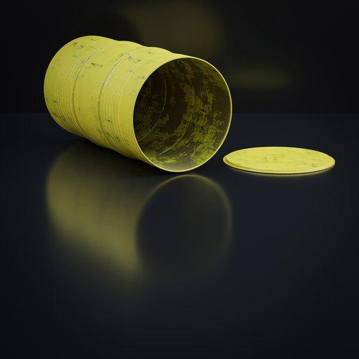 Yellow barrel, drum or cask