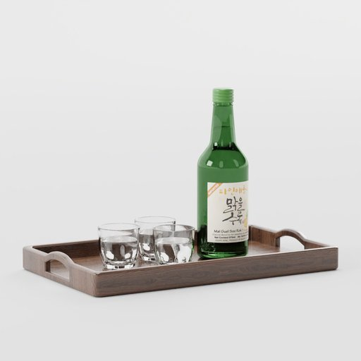 Soju With Glasses on Wooden Tray