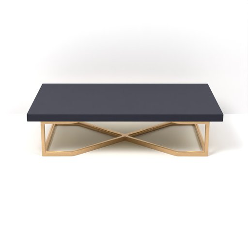 Thumbnail: Brass Navy Blue Coffee Table