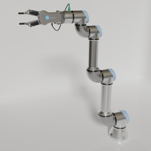 Universal robots ur5e with on robot two finger gripper RG2.