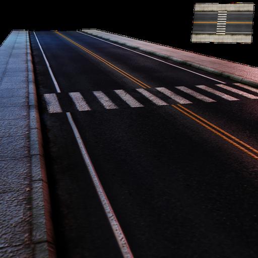 Thumbnail: Street Module 03 - Lowpoly - Straight street Large W/crosswalk