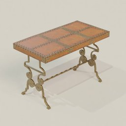 Thumbnail: Antique Brass+Leather Ornamental Table