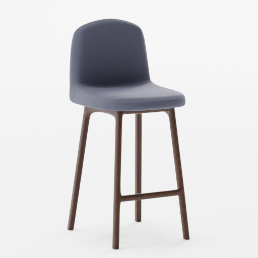 Thumbnail: Denim Dark Wood High Bar Stool