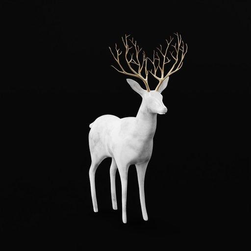 Thumbnail: Grey Marble Deer Brass Antler