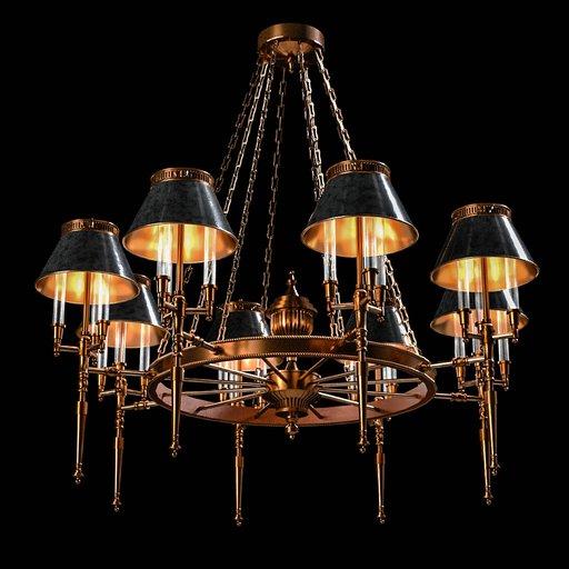 Thumbnail: Vintage bronze chandelier