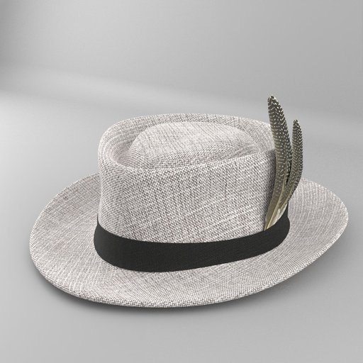 Grey Felt Fedora Hat with Bird Feather