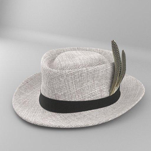Thumbnail: Grey Felt Fedora Hat with Bird Feather