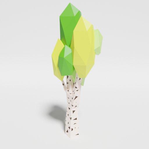 "Thumbnail: Low Poly Birch Tree ""Singlecolor"""
