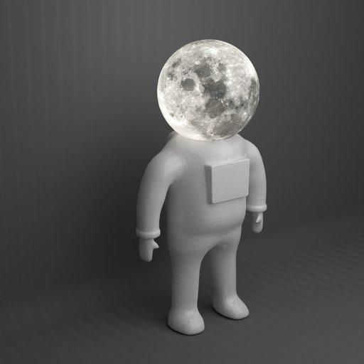 Standing Astronaut Moon Lamp