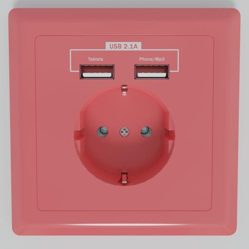 Thumbnail: Socket 220V / 5V USB Pink