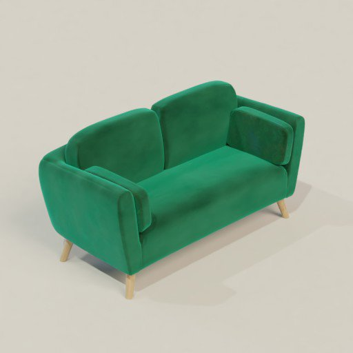 Thumbnail: Green Velvet Scandinavian Sofa