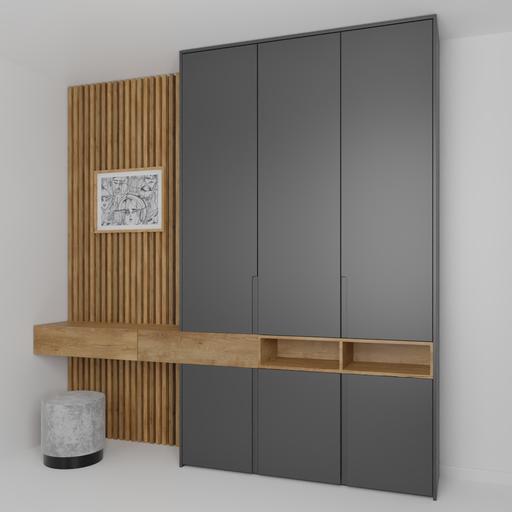 Bedroom wardrobe wall black