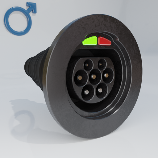 Thumbnail: Electric motor vehicle charging socket, male.